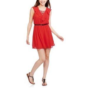 NB Juniors' Ruffle Front Easy Waist Belted Dress